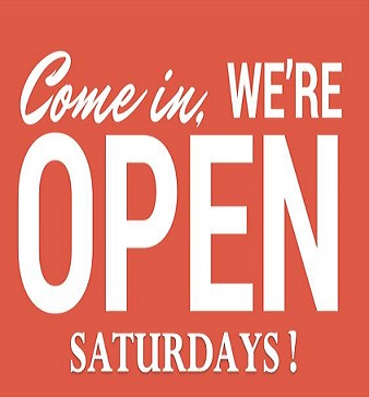 We're now open on Saturdays!