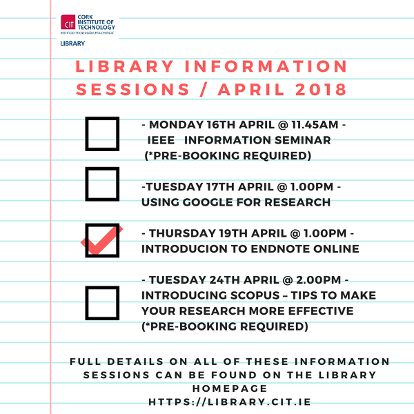 Library Information Sessions in April: