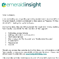 Upcoming maintenance on Emerald Insight research database/ Tuesday 22 May 2018
