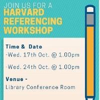 Harvard Referencing Workshops in October