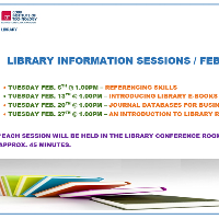 Watch out for our new series of Library Information Sessions this February