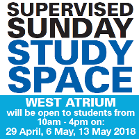 Supervised study facilities in West Atrium available on Sundays