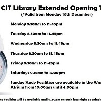 CIT Library Extended Opening Times